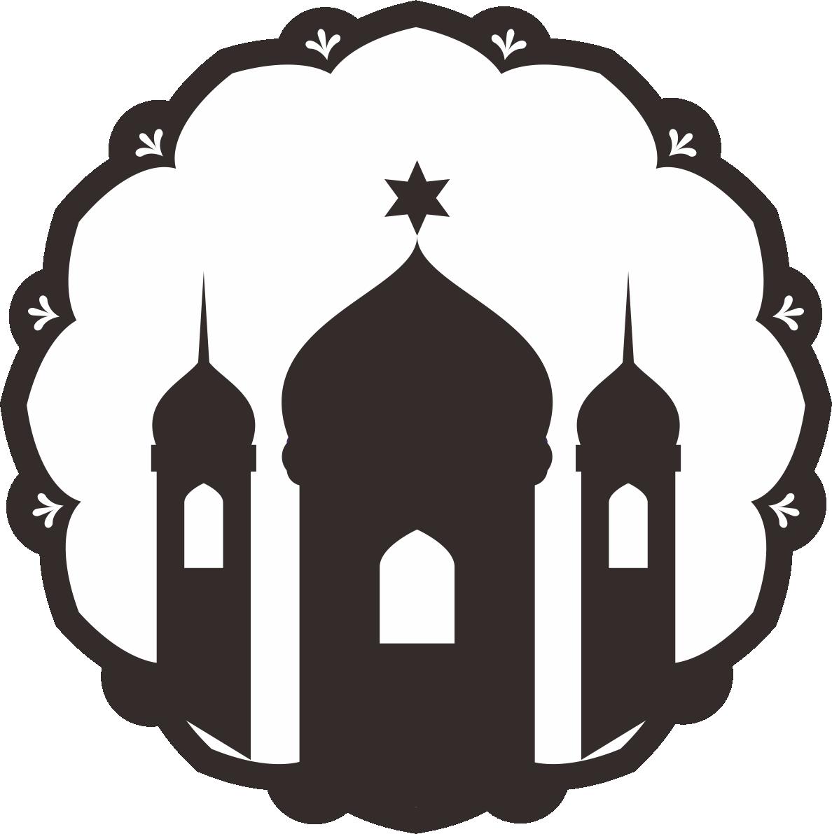 logo masjid hitam putih