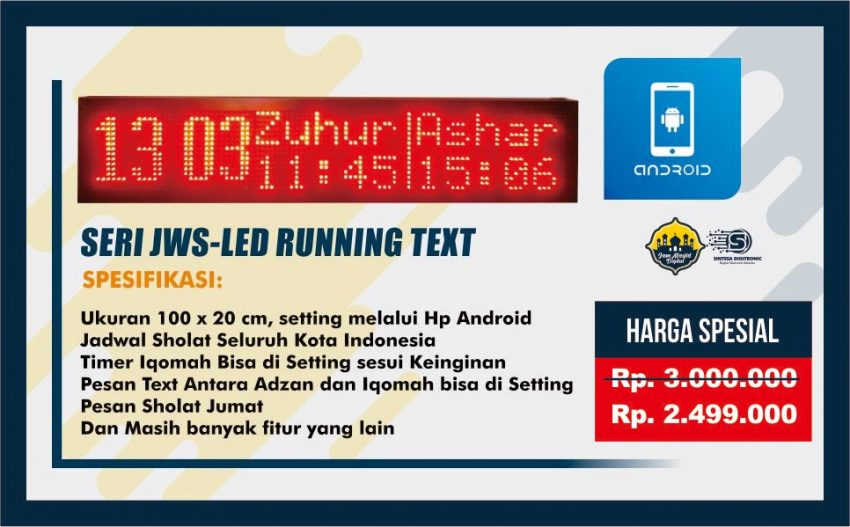 Jam Digital Sholat Runningtext