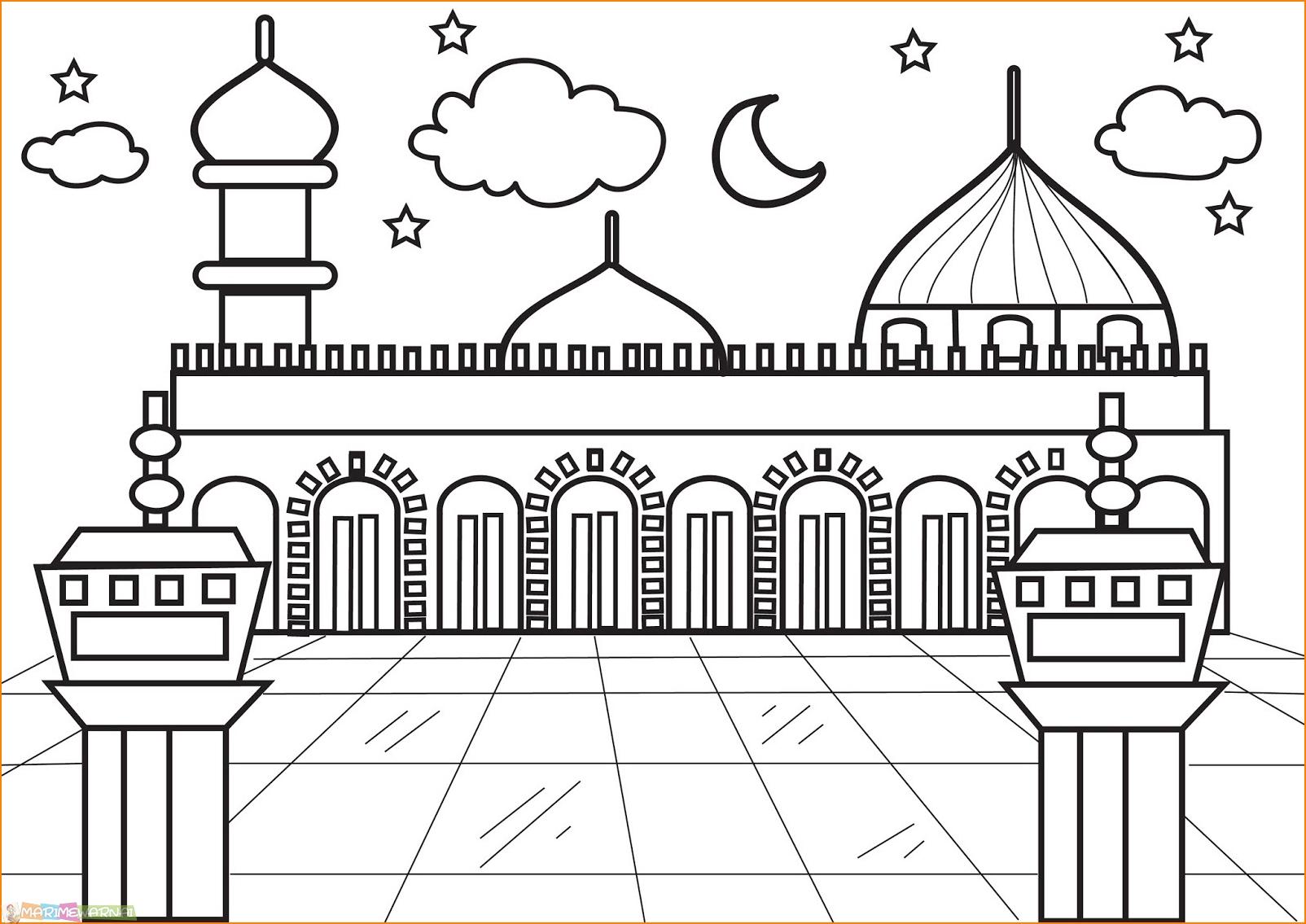 Contoh Gambar Masjid untuk Lomba Mewarnai 1