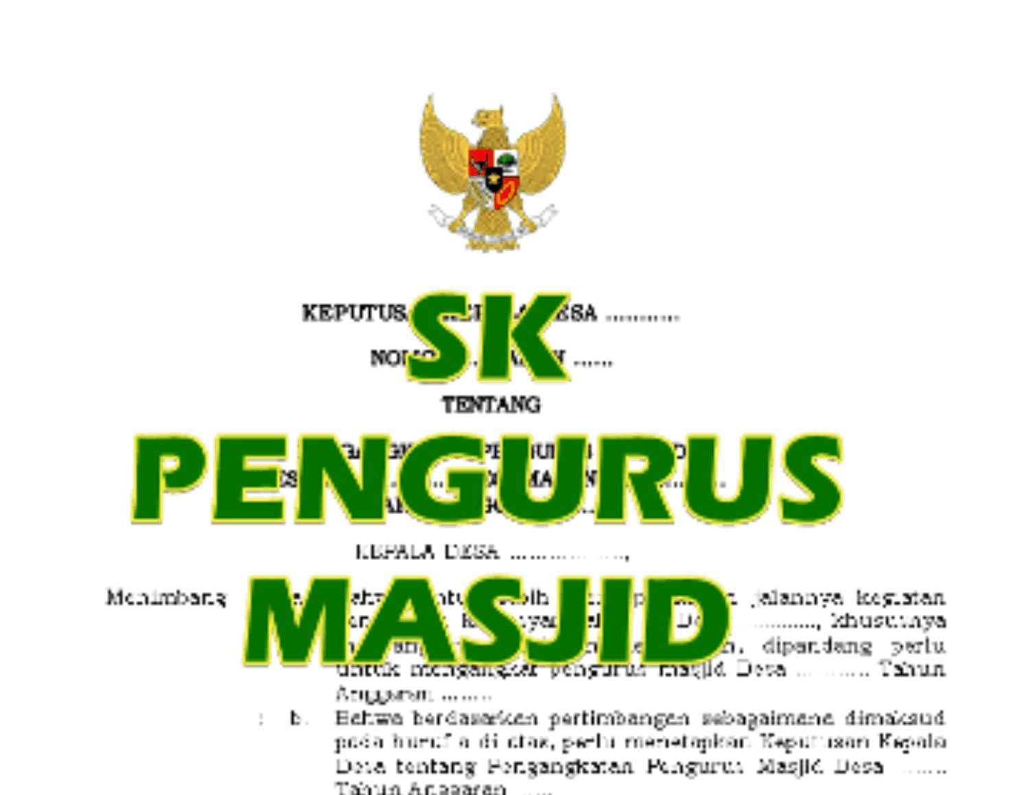 Contoh SK pengurus masjid