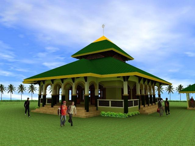 cat masjid warna hijau
