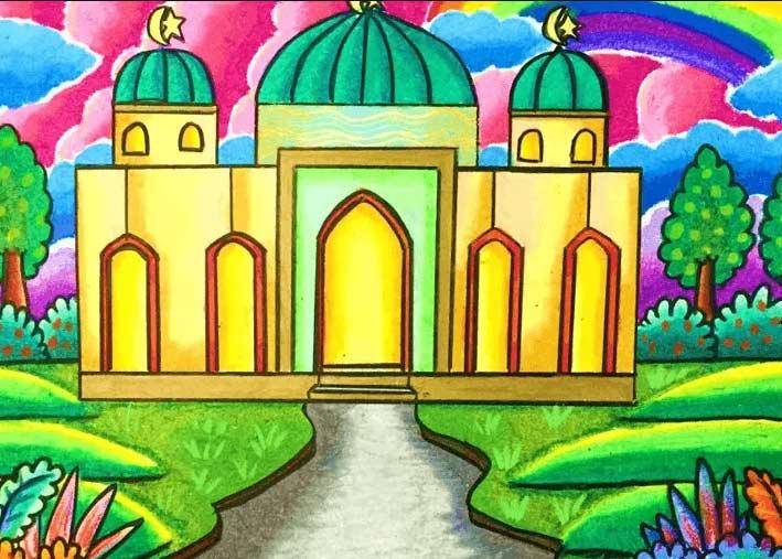Cara-Mewarnai-Masjid-dengan-Crayon-11
