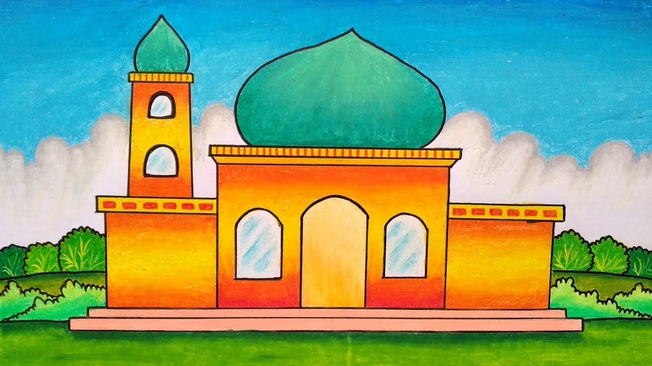 Cara Mewarnai Masjid dengan Crayon 7
