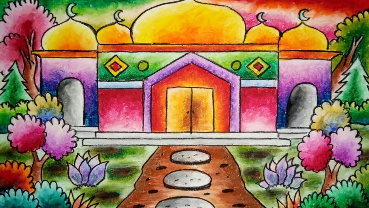Cara Mewarnai Masjid dengan Crayon