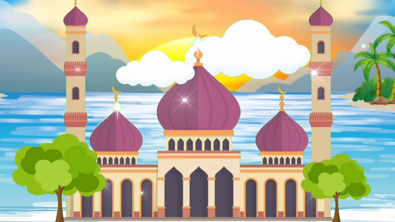 gambar masjid animasi berwarna